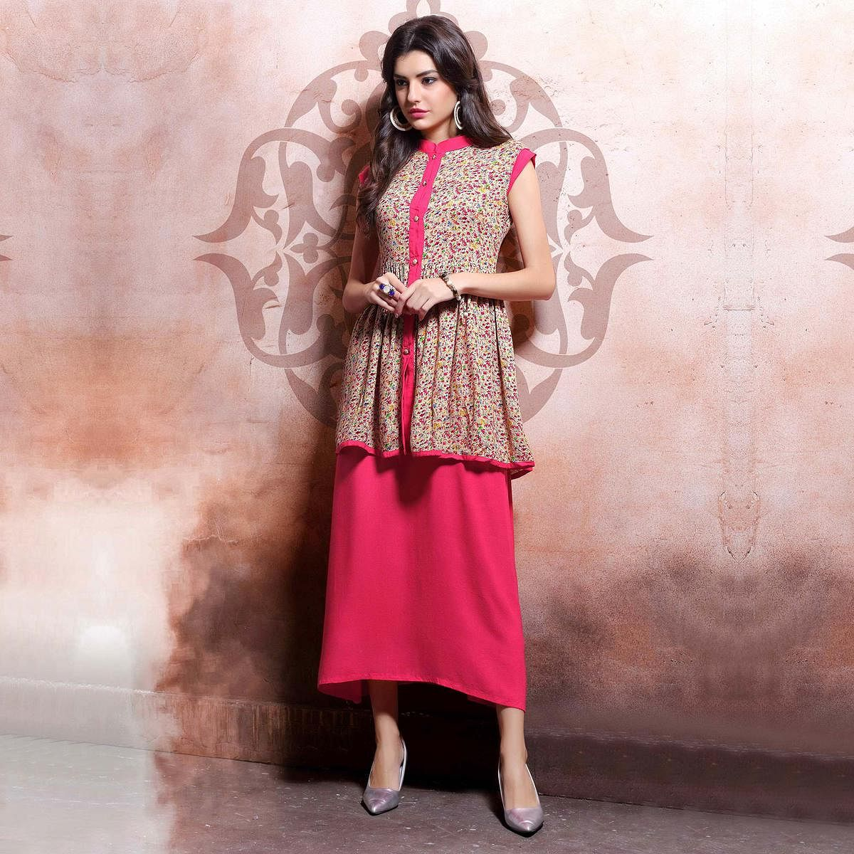 Cream - Pink Party Wear Kurti