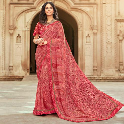 Capricious Pink Colored Casual Paisley Printed Georgette Saree