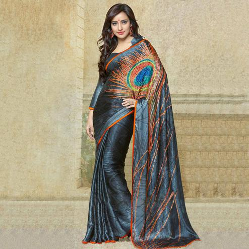 Blissful Grey Colored Party Wear Printed Silk Crepe Saree