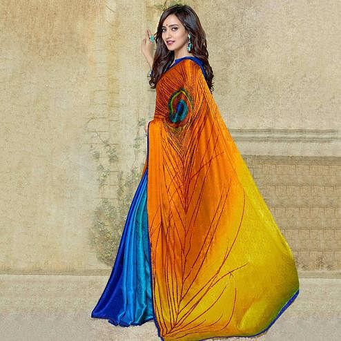 Ideal Multi Colored Party Wear Printed Silk Crepe Saree