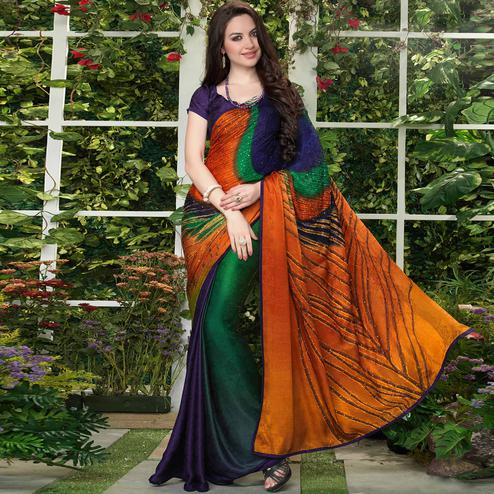 Imposing Multi Colored Party Wear Printed Silk Crepe Saree