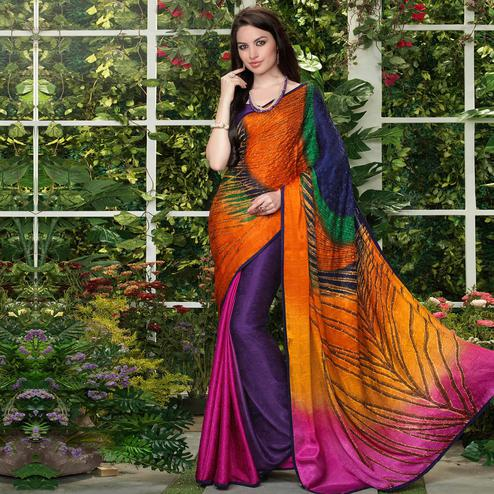 Lovely Multi Colored Party Wear Printed Silk Crepe Saree