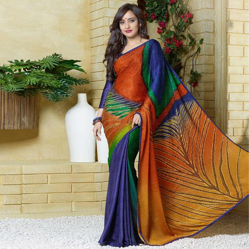 Majesty Multi Colored Party Wear Printed Silk Crepe Saree