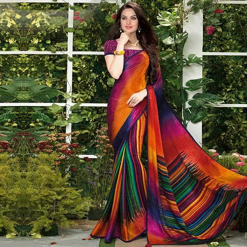 Impressive Multi Colored Party Wear Printed Silk Crepe Saree