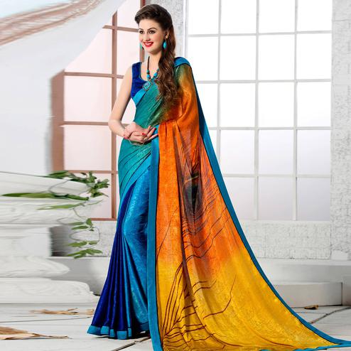 Pleasance Multi Colored Party Wear Printed Silk Crepe Saree