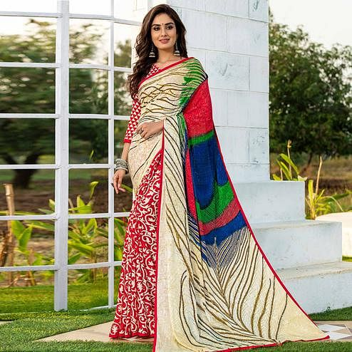 Ethnic Red-Cream Colored Party Wear Printed Silk Half-Half Saree