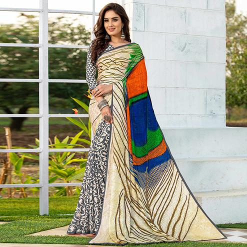 Ravishing Grey-Cream Colored Party Wear Printed Silk Half-Half Saree