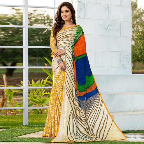 Staring Yellow-Cream Colored Party Wear Printed Silk Half-Half Saree