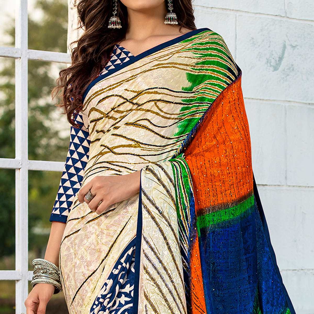 Dazzling Blue-Cream Colored Party Wear Printed Silk Half-Half Saree