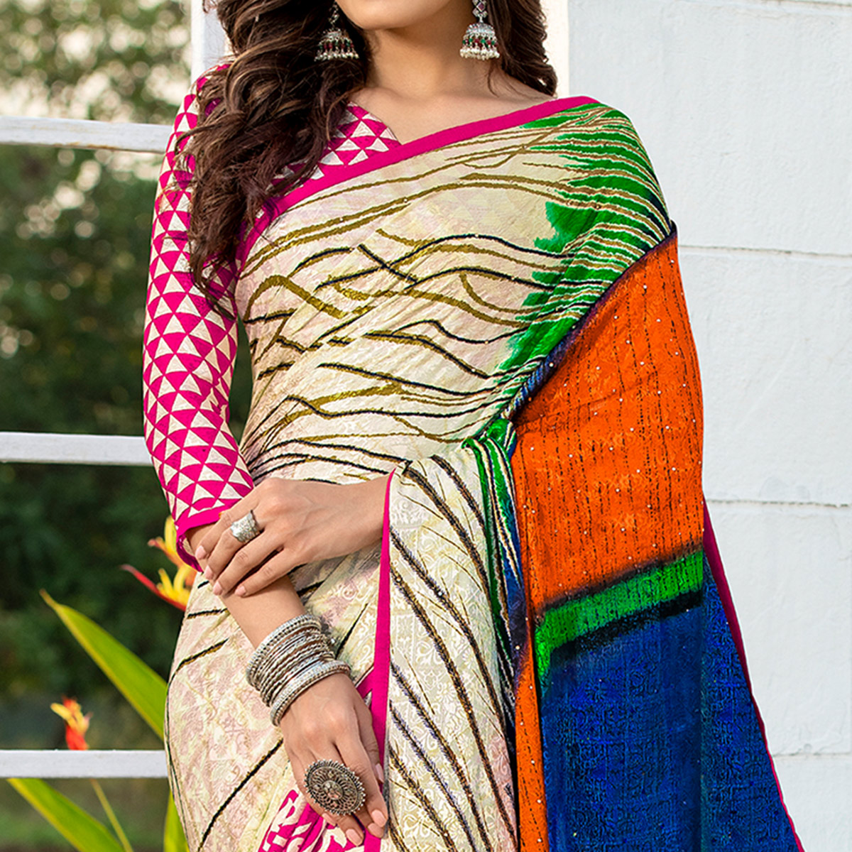 Surpassing Pink-Cream Colored Party Wear Printed Silk Half-Half Saree