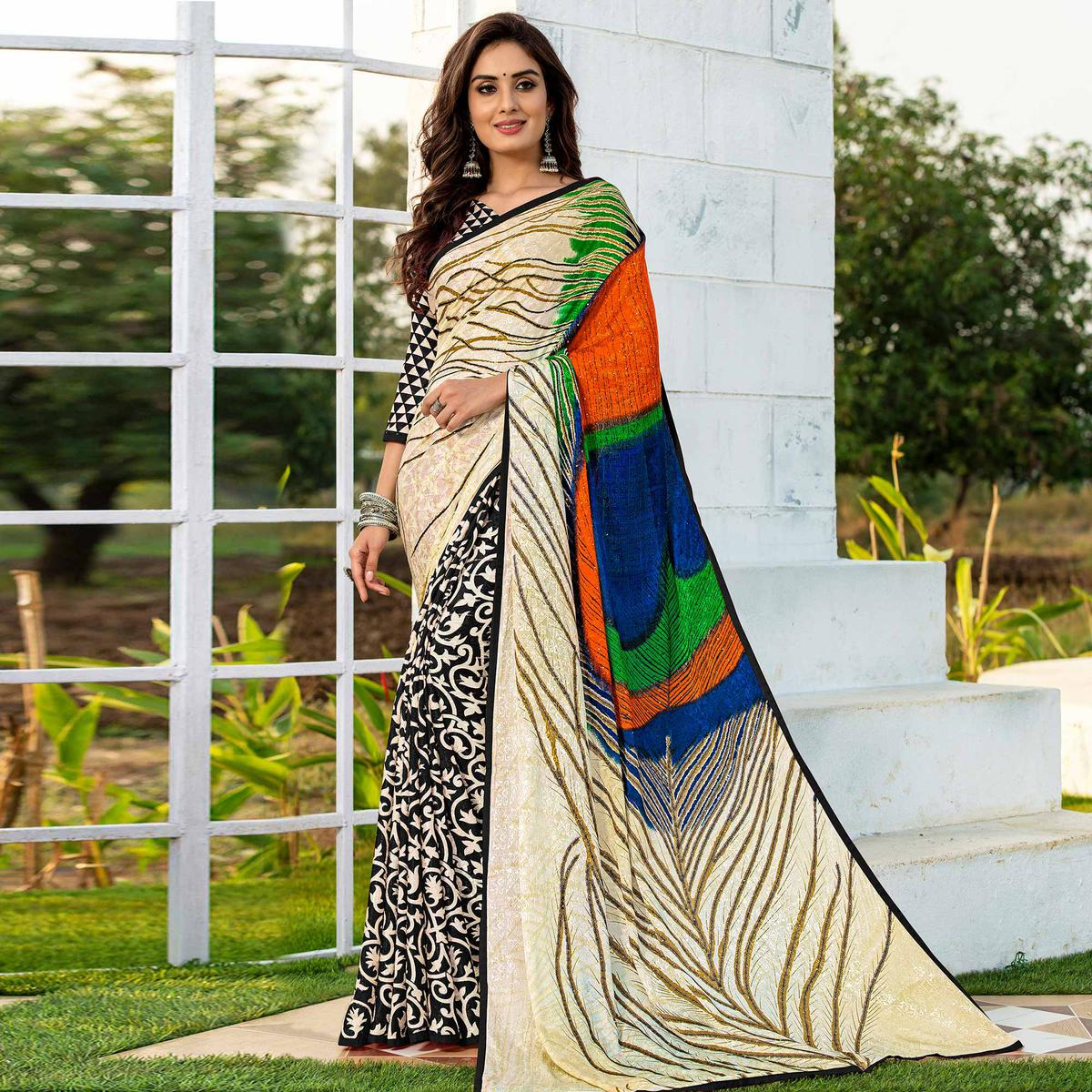 Pretty Black-Cream Colored Party Wear Printed Silk Half-Half Saree