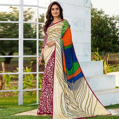 Alluring Maroon-Cream Colored Party Wear Printed Silk Half-Half Saree