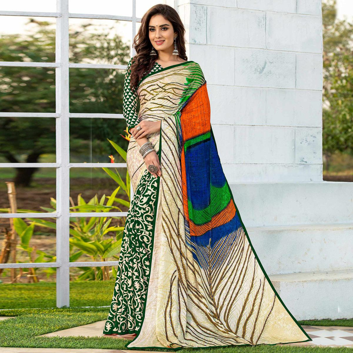 Flaunt Green-Cream Colored Party Wear Printed Silk Half-Half Saree
