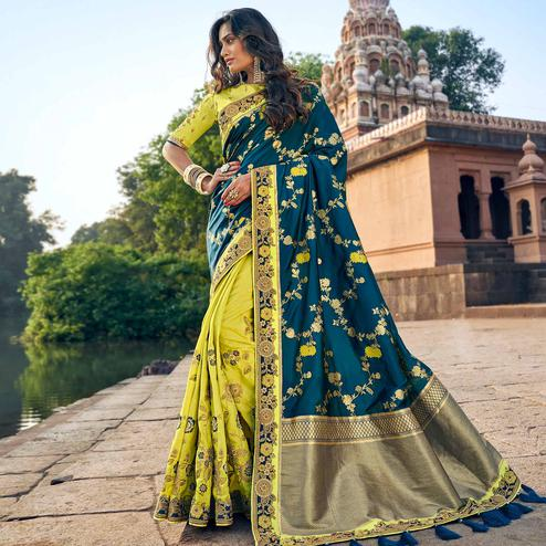 Charming Lemon Green-Teal Blue Colored Party Wear Embroidered Silk Half & Half Saree With Tassels