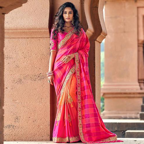 Delightful Pink Colored Party Wear Embroidered Silk Half & Half Saree With Tassels