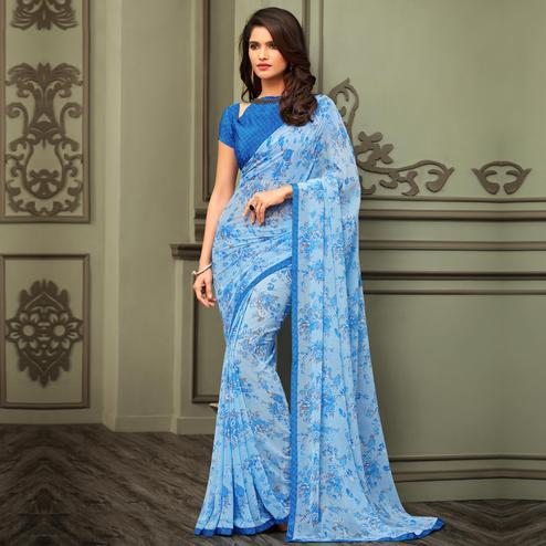 Captivating Light Blue Colored Casual Floral Printed Georgette Saree