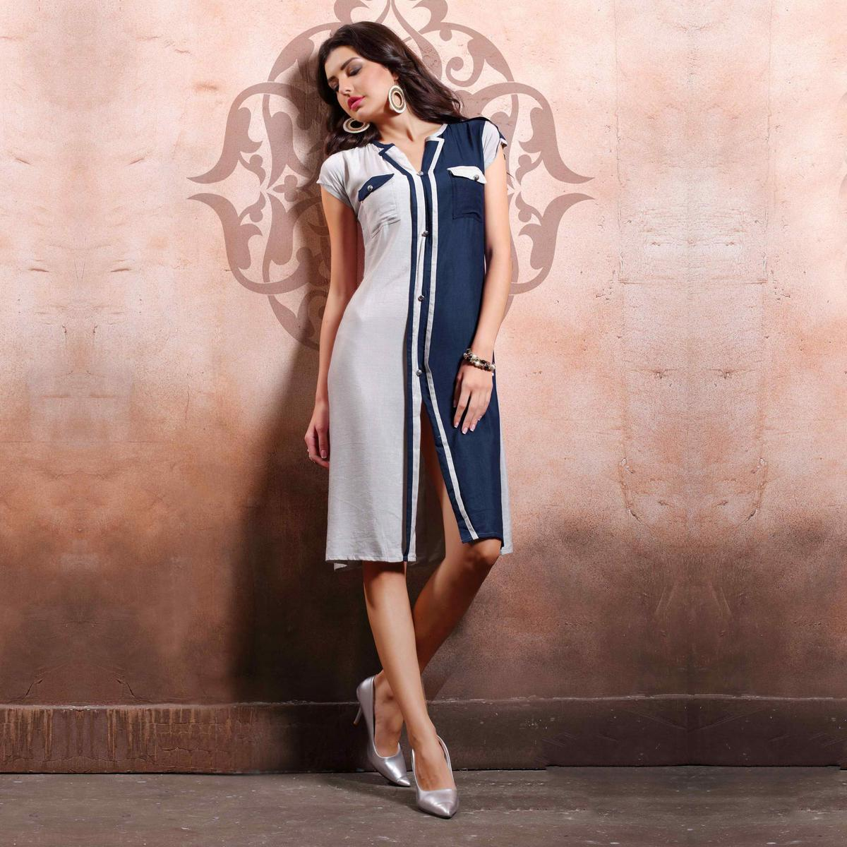 Navy Blue - White Stiched Kurti