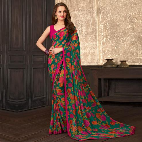 Fantastic Green Colored Casual Floral Printed Georgette Saree