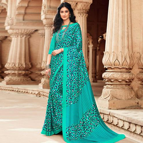 Majesty Turquoise Green Colored Party Wear Designer Printed Satin Saree
