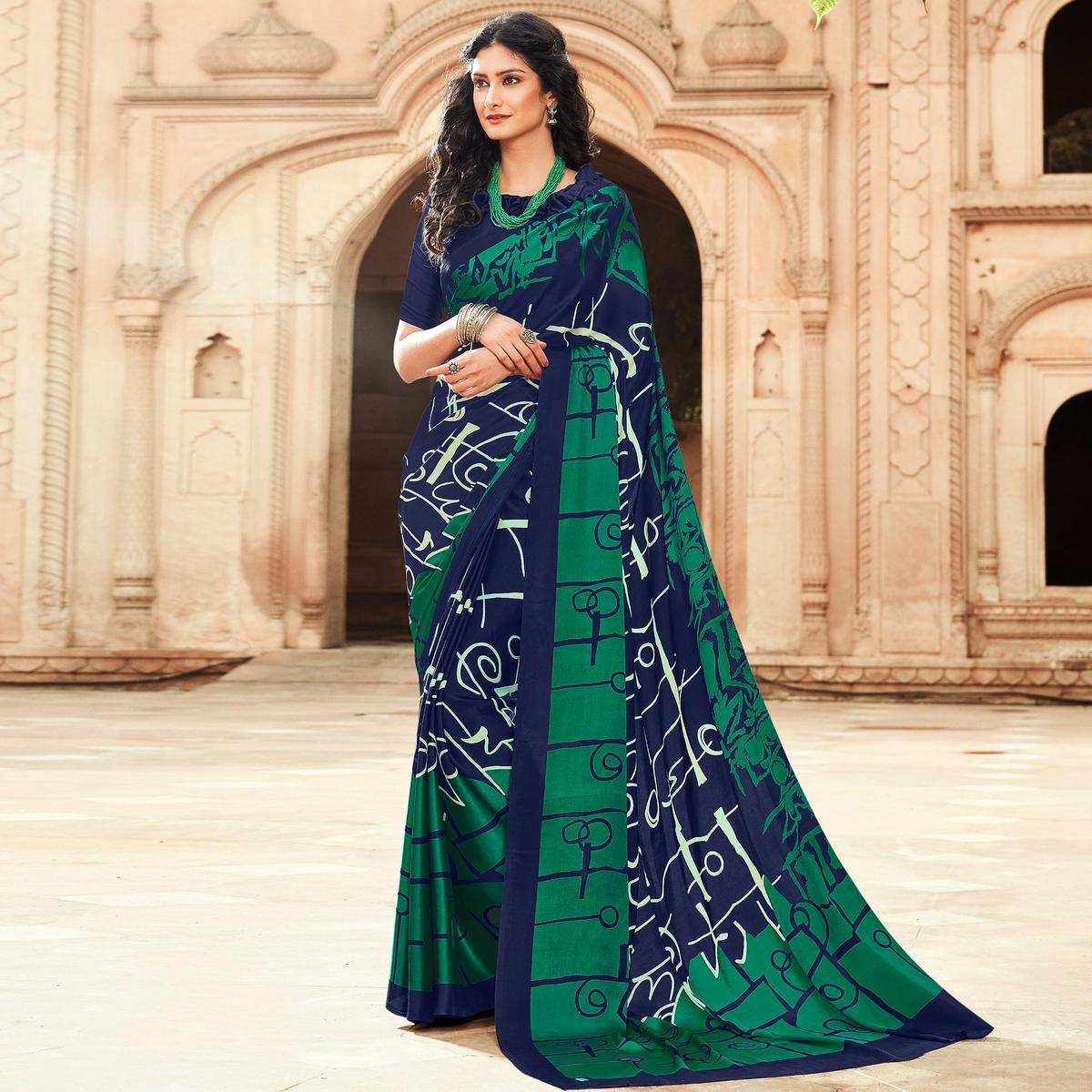 Mesmerising Navy Blue-Green Colored Party Wear Designer Printed Satin Saree
