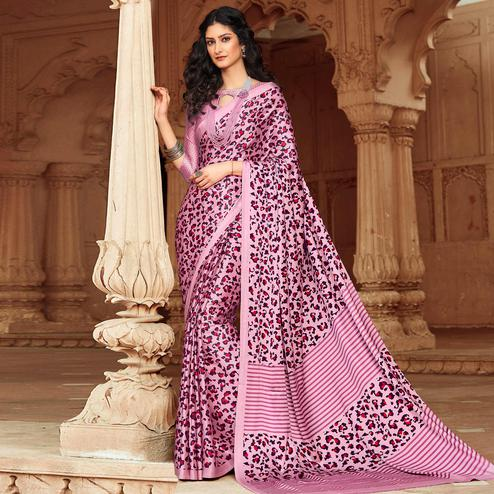 Pleasance Pink Colored Party Wear Designer Printed Satin Saree