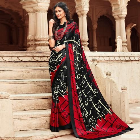 Ethnic Red-Black Colored Party Wear Designer Printed Satin Saree