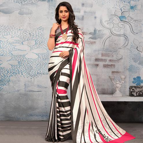 Ravishing Multicolor Colored Party Wear Designer Printed Half-Half Satin Saree