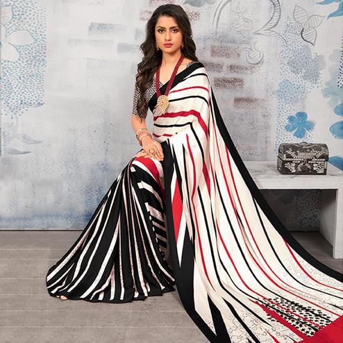 Staring Multicolor Colored Party Wear Designer Printed Half-Half Satin Saree