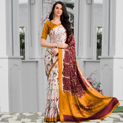 Dazzling Multicolor Colored Party Wear Designer Printed Half-Half Satin Saree
