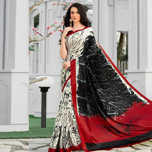 Surpassing Multicolor Colored Party Wear Designer Printed Half-Half Satin Saree
