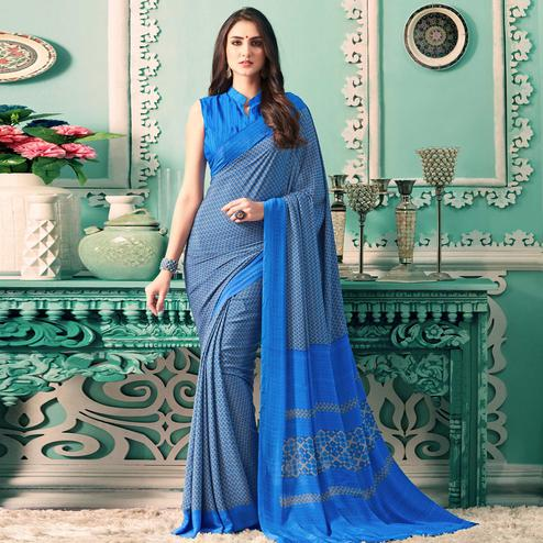 Delightful Blue Colored Partywear Printed Silk Crepe Saree