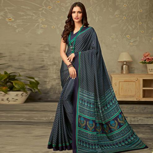 Eye-catching Navy Blue Colored Partywear Printed Silk Crepe Saree