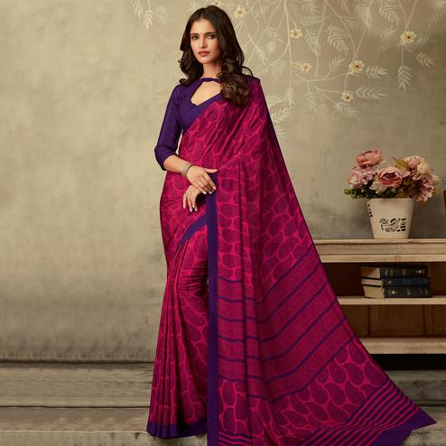 Amazing Magenta Pink Colored Partywear Printed Silk Crepe Saree