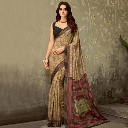 Blissful Beige Brown Colored Partywear Printed Silk Crepe Saree