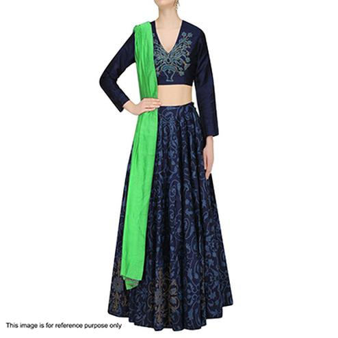 Navy Blue Digital Printed Lehenga