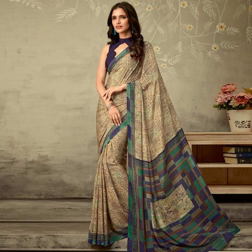 Ideal Beige Blue Colored Partywear Printed Silk Crepe Saree