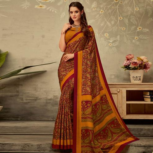 Imposing Maroon-Yellow Colored Partywear Printed Silk Crepe Saree