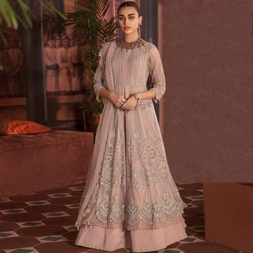Preferable Beige Colored Partywear Embroidered Netted Suit