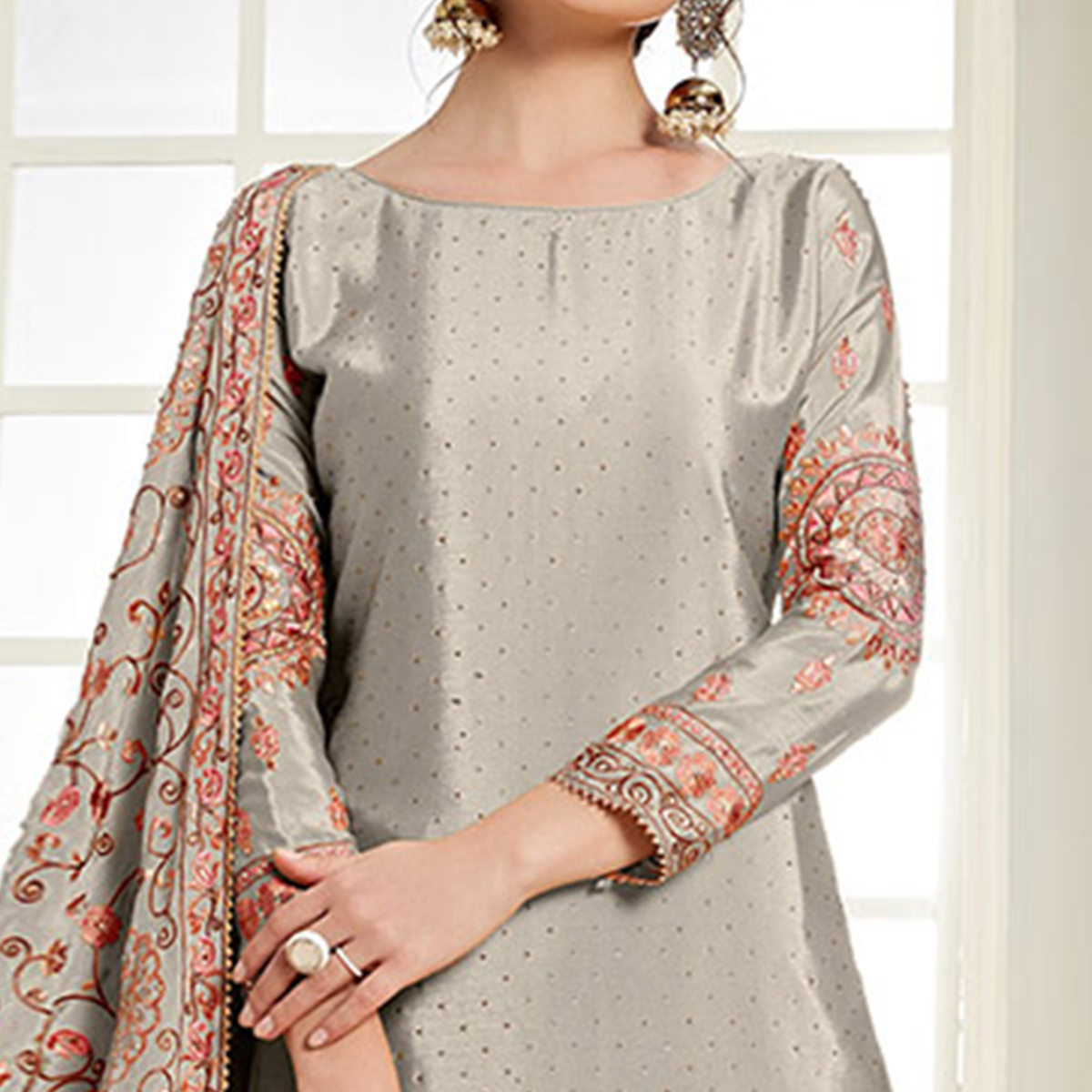 Amazing Grey Colored Partywear Embroidered Chiffon Palazzo Suit