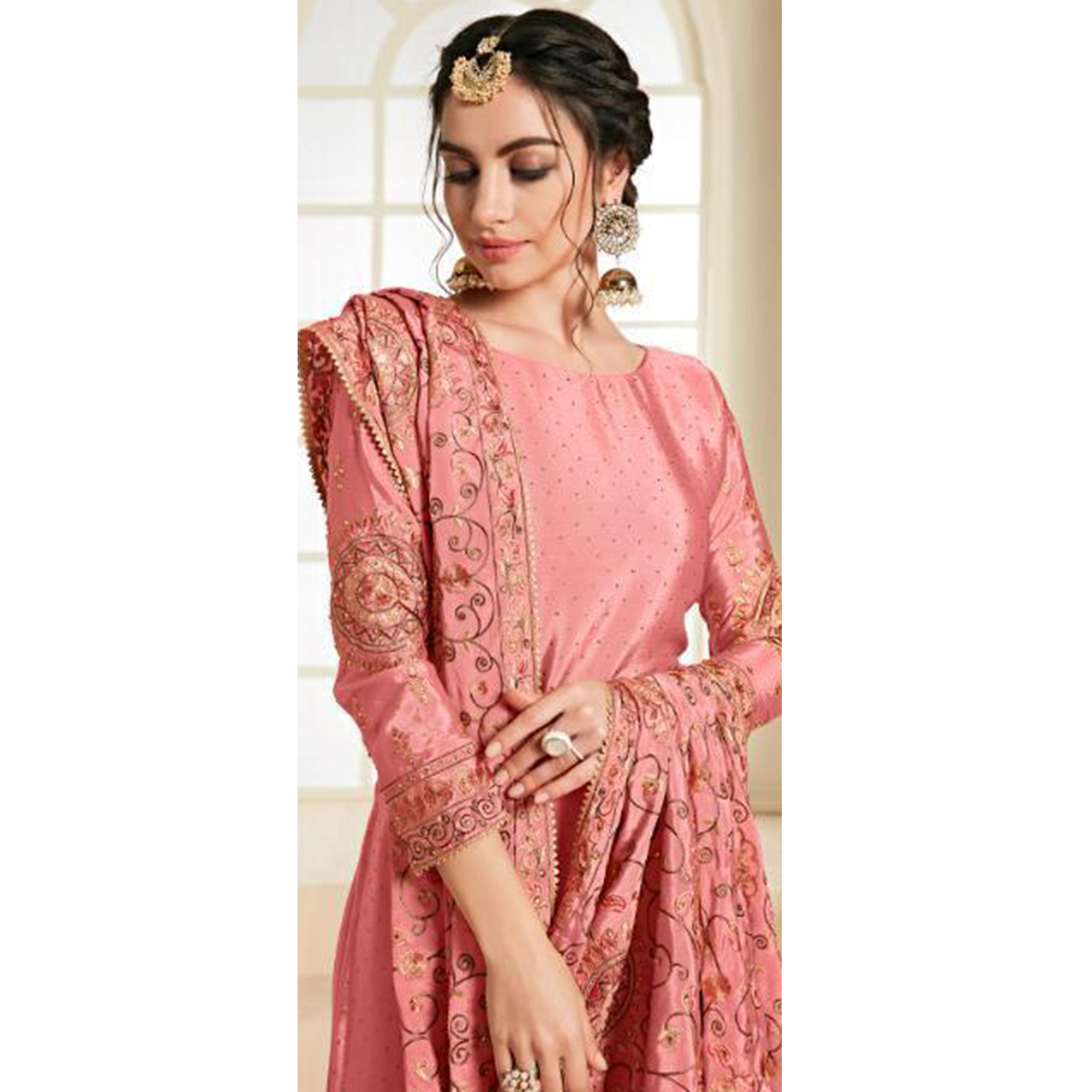 Gorgeous Pink Colored Partywear Embroidered Chiffon Palazzo Suit