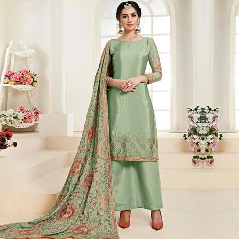 Blissful Green Colored Partywear Embroidered Chiffon Palazzo Suit