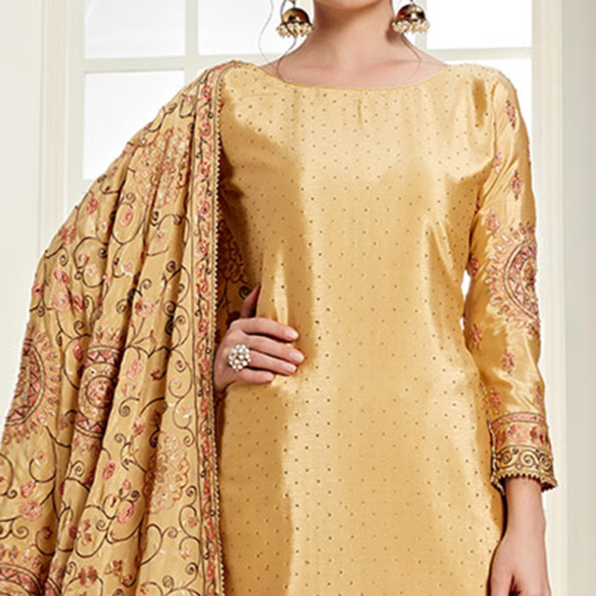 Ideal Yellow Colored Partywear Embroidered Chiffon Palazzo Suit