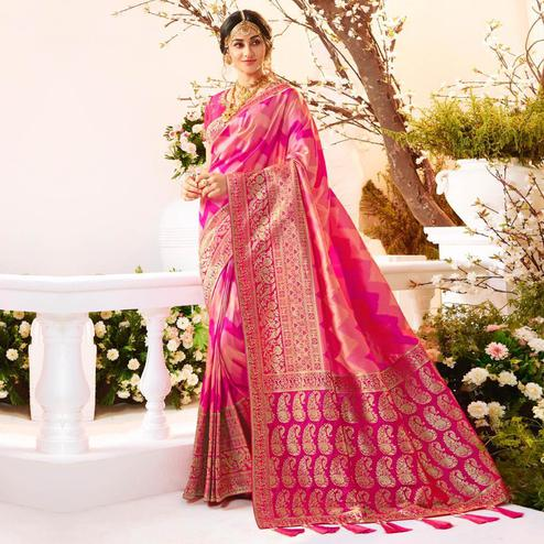 Radiant Pink Colored Festive Wear Woven Banarasi Silk Saree With Tassels
