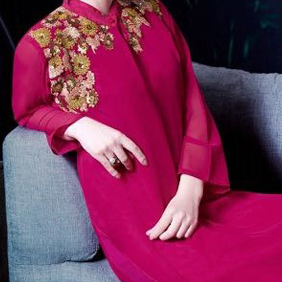Pink Party Wear Embroidered Kurti