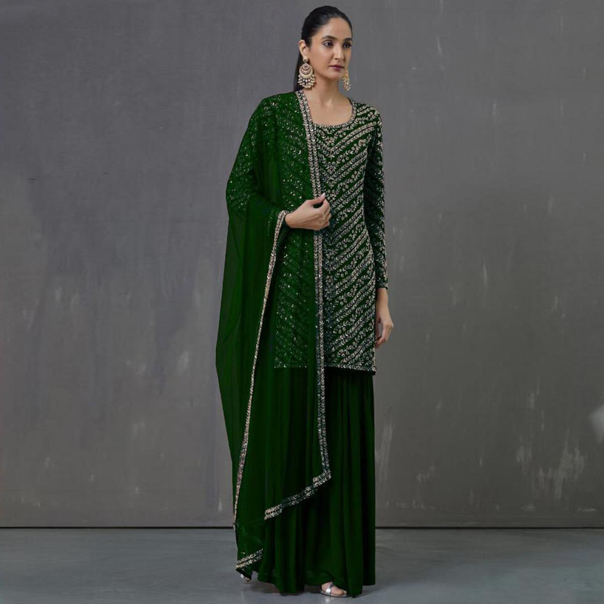Staring Green Colored Party Wear Embroidered Georgette Palazzo Suit