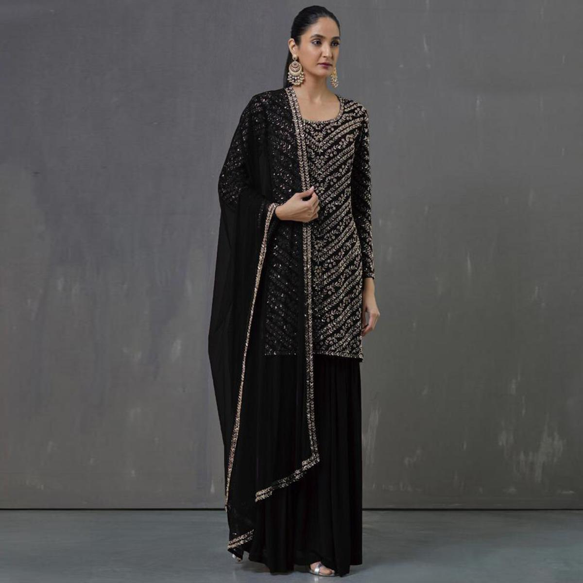 Dazzling Black Colored Party Wear Embroidered Georgette Palazzo Suit