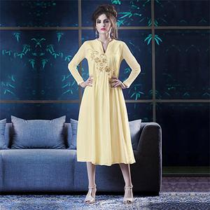 Yellow Embroidered Work Georgette Kurti