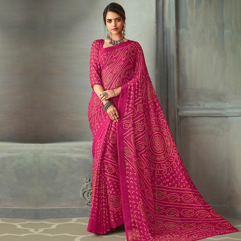 Desirable Pink Colored Casual Wear Bandhani Printed Chiffon Saree
