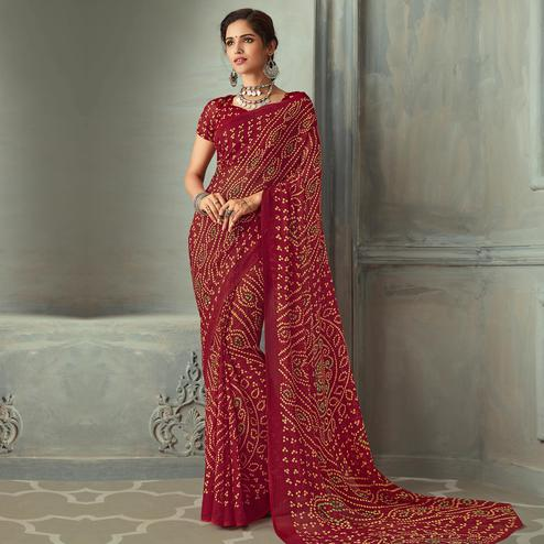 Trendy Maroon Colored Casual Wear Bandhani Printed Chiffon Saree