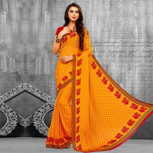 Energetic Yellow Colored Casual Wear Printed Chiffon Saree